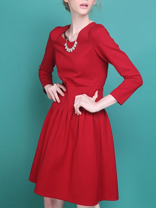 Long Sleeve Zipper Red Dress - $29.67