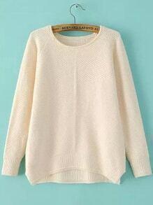 Round Neck Dip Hem Slit Beige Sweater