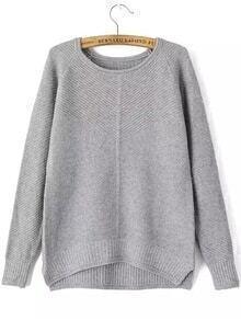 Round Neck Dip Hem Slit Grey Sweater