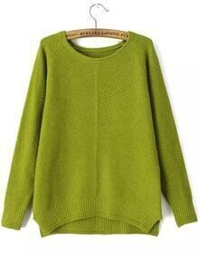 Round Neck Dip Hem Slit Green Sweater