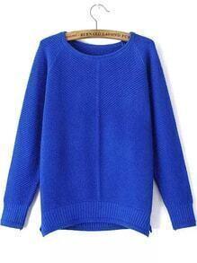 jersey cuello redondo dip hem cropped-azul