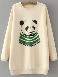 Panda Print Loose Apricot Sweatshirt