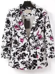 Notch Lapel Single Button Florals Slim Blazer