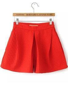 Wide Leg Zipper Red Shorts