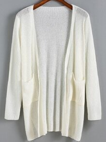 Open Front Pockets White Cardigan
