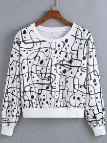 Graffiti Print Black Sweatshirt