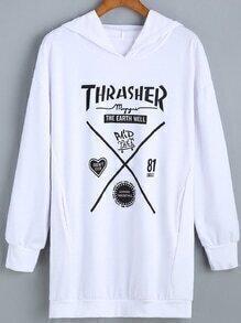 Hooded Letter Print Sweatshirt