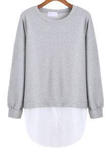 Round Neck Contrast Hem Sweatshirt