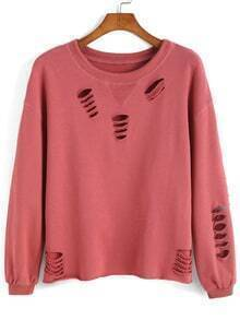 Round Neck Ripped Sweatshirt