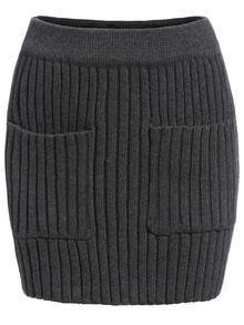 Knit Pockets Bodycon Skirt