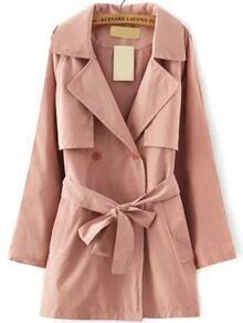 Lapel Double Breasted Belt Pink Coat
