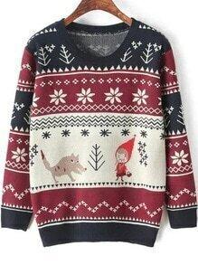 Round Neck Cartton Print Navy Sweater