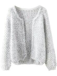 veste tricot en mohair -gris
