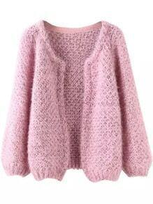 Long Sleeve Mohair Pink Coat