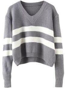 V Neck Striped Grey Sweater