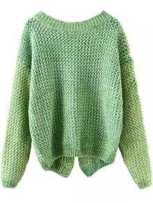 Long Sleeve Slit Back Green Sweater