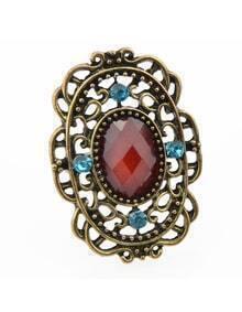 Vintage Aulic Style Red Single Imitation Gemstone Big Stone Ring