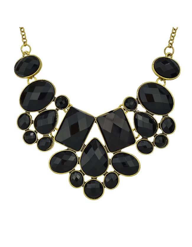 black imitation gemstone chunky statement necklace