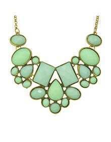 Green Imitation Gemstone Chunky Statement Necklace