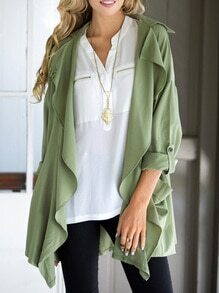 Army Green Long Sleeve Lapel Coat