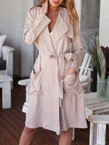 Khaki Long Sleeve Pockets Trench Coat