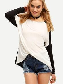 White Black Long Sleeve Color Block T-Shirt