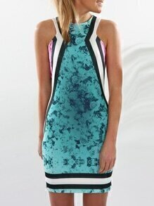 Green Sleeveless Floral Zipper Dress
