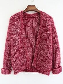 Loose Knit Wine Red Cardigan