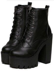 Black Chunky High Heel Hidden Platform Casual Boots