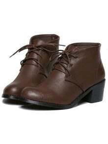 Brown Chunky Mid Heel PU Boots