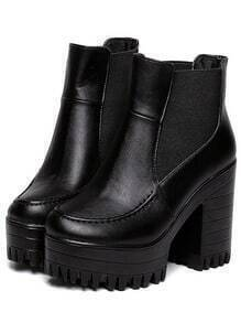 Black Chunky High Heel PU Pumps