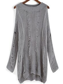 Round Neck Dip Hem Ripped Sweater