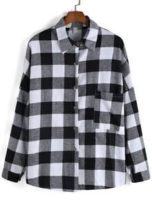 Lapel Long Sleeve Plaid Blouse