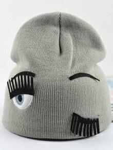 Eye Eyelash Pattern Grey Hat