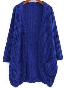 Long Sleeve Pockets Royal Blue Cardigan