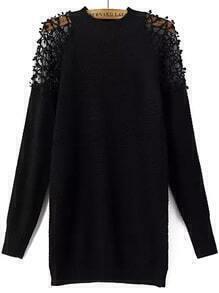 Lace Insert Crochet Black Sweater