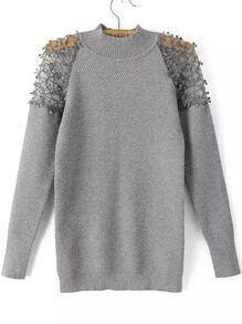Lace Insert Crochet Grey Sweater