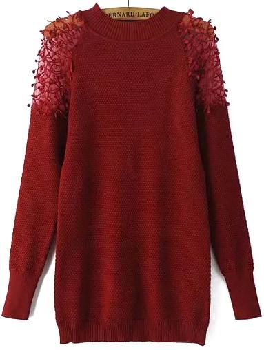 Pull Crochet Avec Dentelle Rouge Bordeaux French Romwe