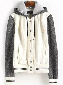 Hooded Drawstring Contrast Sleeve Striped White Jacket