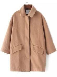 Lapel Pockets Woolen Camel Coat