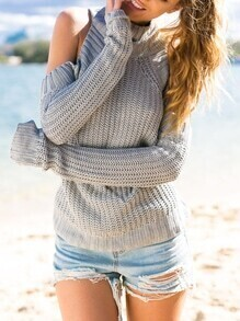 Grey Long Sleeve Off The Shoulder Sweater