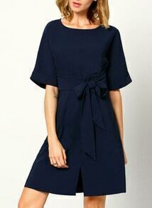 Navy Short Sleeve With Bow Zipper Dress