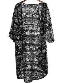 Black Paisley Print Loose Kimono