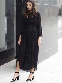 Black Deep V Neck Self-Tie Pockets Chiffon Dress
