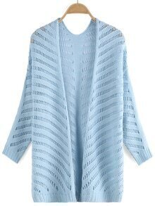 Long Sleeve Open-Knit Pale Blue Cardigan