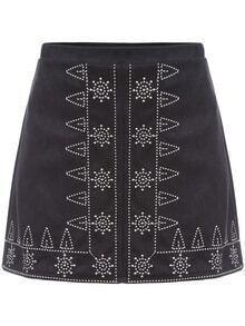 Suede A-Line Black Skirt