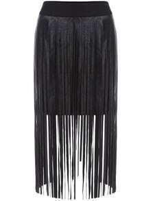 Tassel Zipper Black Skirt