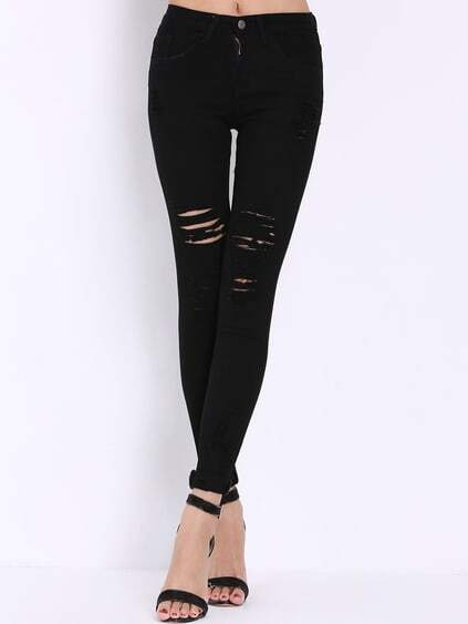 High Waist Ripped Denim Black Pant
