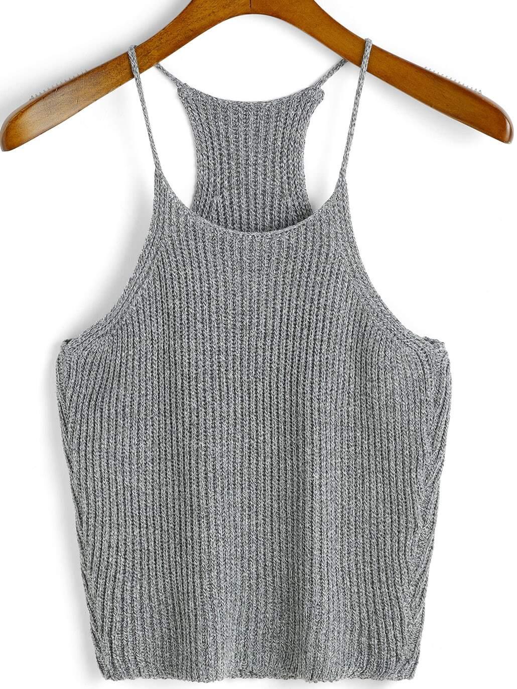 Spaghetti Strap Knit Grey Cami Top