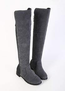 Black PU Tall Flat Boots